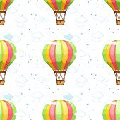 A seamless pattern with hot air balloons and clouds