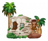 Caveman scene with house and plants