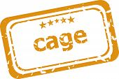 Cage On Rubber Stamp Over A White Background