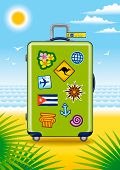Suitcase for travel on a beach. Vector