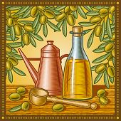 Retro olive oil still life. Vector
