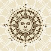 stock photo of north star  - Vintage sun compass rose - JPG