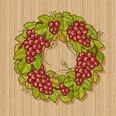 Retro grapes wreath. Vector