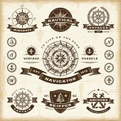 image of wind wheel  - Vintage nautical labels set - JPG