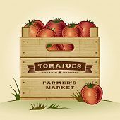 Retro crate of tomatoes. Editable EPS10 vector with clipping mask and transparency.