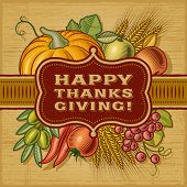 Happy Thanksgiving Retro Card. Fully editable EPS10 vector.
