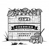 Retro crate of cherries black and white