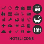 hotel, motel black isolated icons, signs, symbols, illustrations set, vector