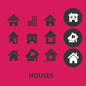 house, building black isolated icons, signs, symbols, illustrations set, vector