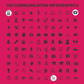 100 communication infographics black isolated icons, signs, symbols, illustrations set, vector
