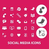 social media, network, blog, community black isolated icons, signs, symbols, illustrations set, vector