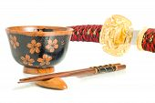 Japanese Culture. Katana, Chopsticks And Bowl