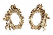Set of oval baroque golden picture frames with cupid isolated on white with clipping path.