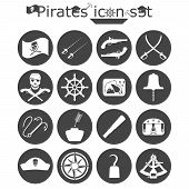 foto of pirate sword  - Pirates icon set monochrome 2d illustration vector eps 8 - JPG