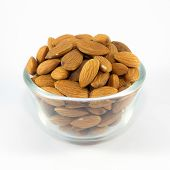Almonds on a glass bowl