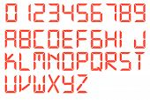 Font Red Glowing Digital Style