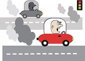 Auto Verschmutzung cartoon