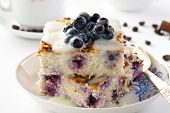 pudding Of Cheese And Couscous With Blueberries