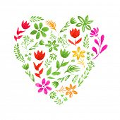 Vector heart made of watercolor flowers and