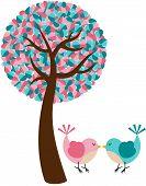 Romantic tree with couple birds