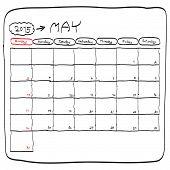 May 2015 Planning Calendar Vector, Doodles Hand Drawn