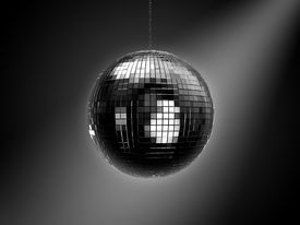 stock photo of ball chain  - Disco party mirrored retro ball on chain - JPG