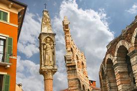 stock photo of tabernacle  - Tabernacle near Verona Arena of Verona city center Italy - JPG
