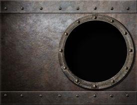 foto of battleship  - submarine or battleship porthole metal background - JPG