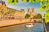 stock photo of notre dame  - Siene river and Notre Dame de Paris in Paris - JPG