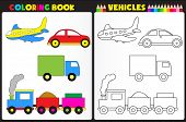 image of sketch book  - Coloring book page for pre school childern with colorful vehicles  - JPG