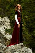 pic of fairy  - A beautiful woman fairy with long blonde hair in a historical gown is standing on rocks amids a breathtaking forestral landscape - JPG