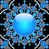 stock photo of precious stone  - Elegant background with circular ornament of precious stones - JPG