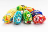 stock photo of uniqueness  - Hand painted Easter eggs isolated on white - JPG