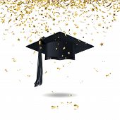 stock photo of graduation  - graduate cap and golden confetti on a white background - JPG