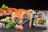 stock photo of sushi  - Japanese seafood sushi set on stone table - JPG