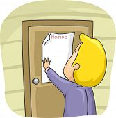 picture of eviction  - Illustration of a Man Posting a Notice on the Door of His House  - JPG