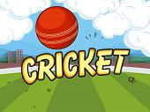 picture of cricket  - Red ball on cloudy stadium background for Cricket concept - JPG
