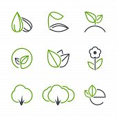 stock photo of tree leaves  - Spring simple vector icon set  - JPG