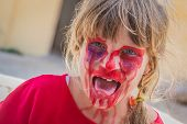 foto of scary face  - young kid  - JPG