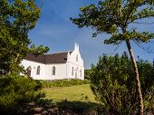 picture of south-western  - Horizontal photo of the Dutch Reformed Church in Franschhoek in Winelands in Western Cape - JPG