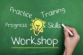 foto of  practices  - Workshop practice progress training skills words on chalkboard - JPG