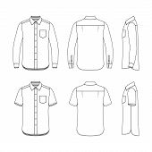 stock photo of casual wear  - Front back and side views of men - JPG