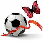 picture of albania  - Soccer ball with ribbon and butterfly with a flag of Albania - JPG