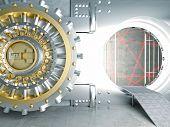 picture of vault  - huge vault door and laser lines - JPG