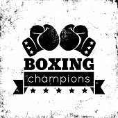 image of boxing ring  - Vintage logo for a boxing on grunge background - JPG