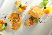 stock photo of halibut  - Salmon and Halibut Fillet with Citrus Mix - JPG