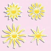 pic of hurricane clips  - Set of 4 yellow Sun - JPG