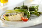 picture of halibut  - Halibut Fillet with Asparagus and Spinach - JPG