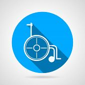 picture of wheelchair  - Single circle blue flat vector icon with white contour wheelchair a side view on gray background with long shadow - JPG