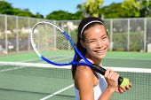 Постер, плакат: Portrait of female tennis player holding tennis racket after playing at game outside on hard court i